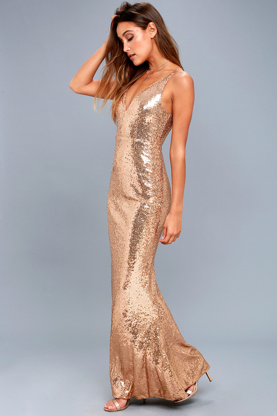 Here to Wow Gold Sequin Maxi Dress 6