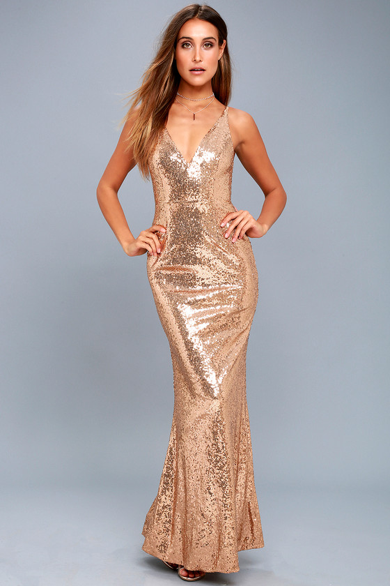 c400e4fb Lovely Gold Sequin Dress - Sequin Maxi Dress - Mermaid Maxi