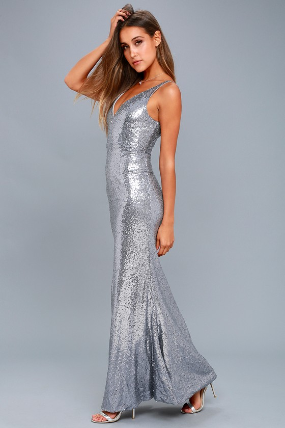 Here to Wow Gunmetal Sequin Maxi Dress 6