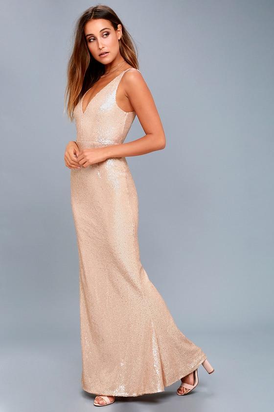7d63c5b6a1e Lovely Matte Rose Gold Sequin Dress - Sequin Maxi Dress
