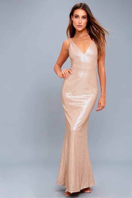 Lovely Matte Rose Gold Sequin Dress - Sequin Maxi Dress 86a607e1b