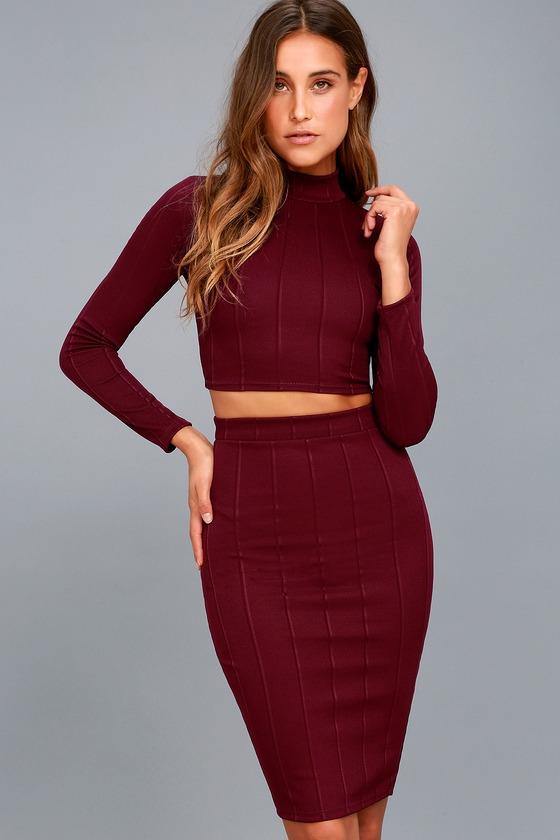 76fa64f3d427 Chic Plum Purple Two-Piece Dress - Midi Dress -Bodycon Dress
