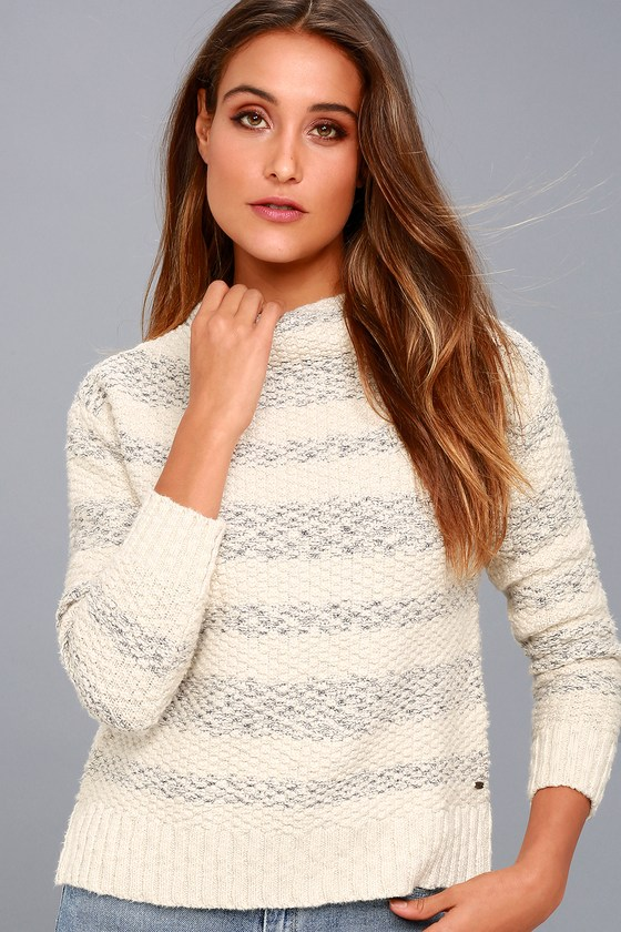 Livie Cream and Grey Striped Funnel Neck Knit Sweater 3
