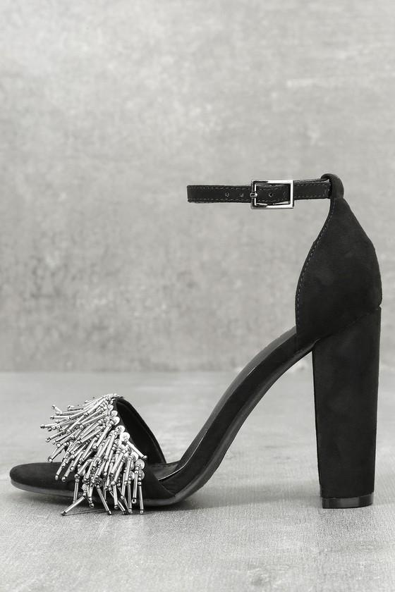 Avanna Black Suede Ankle Strap Heels