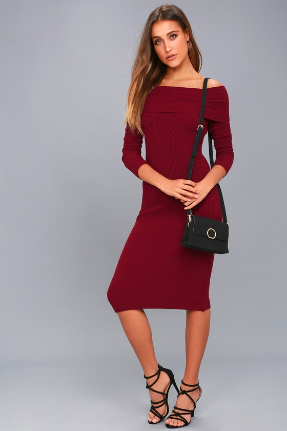 Cozy Burgundy Midi Sweater Dress Off The Shoulder Dress