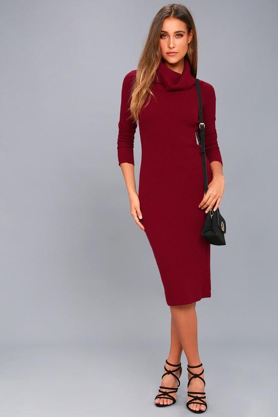fe0b5745f7a Cozy Burgundy Midi Sweater Dress - Off-the-Shoulder Dress