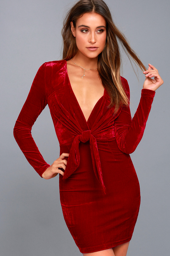 Midnight Hour Red Velvet Knotted Bodycon Dress 1