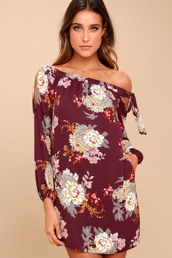 Jade Plum Purple Floral Print Off-the-Shoulder Shift Dress