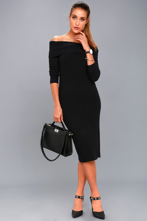 Cozy Black Midi Sweater Dress Off The Shoulder Dress