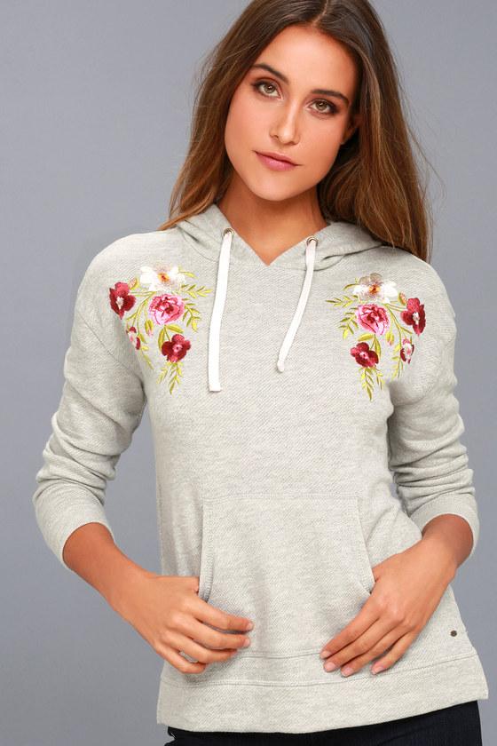 Brianne Heather Grey Embroidered Hoodie