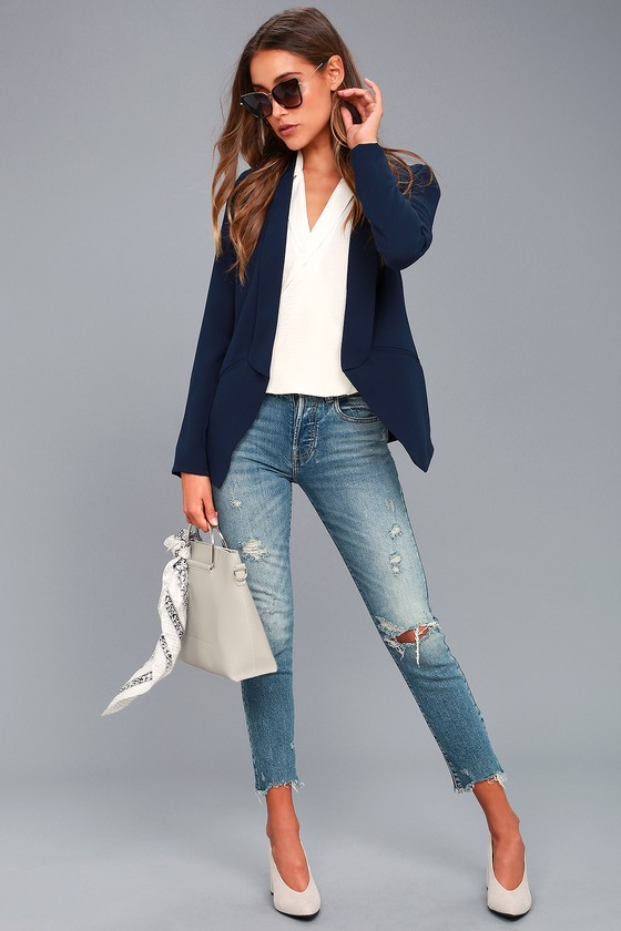 836c5abc5b Cute Navy Blue Blazer - Office Blazer - Tuxedo Blazer