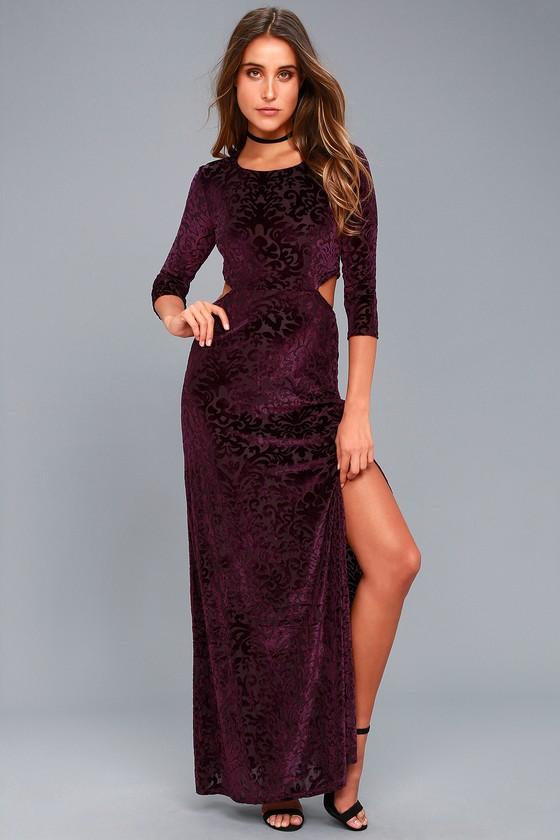 Perfect Night Plum Purple Velvet Print Maxi Dress 5