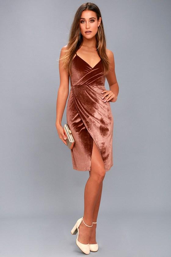861ea2e8993ca Chic Rusty Rose Velvet Dress - Velvet Bodycon Wrap Dress