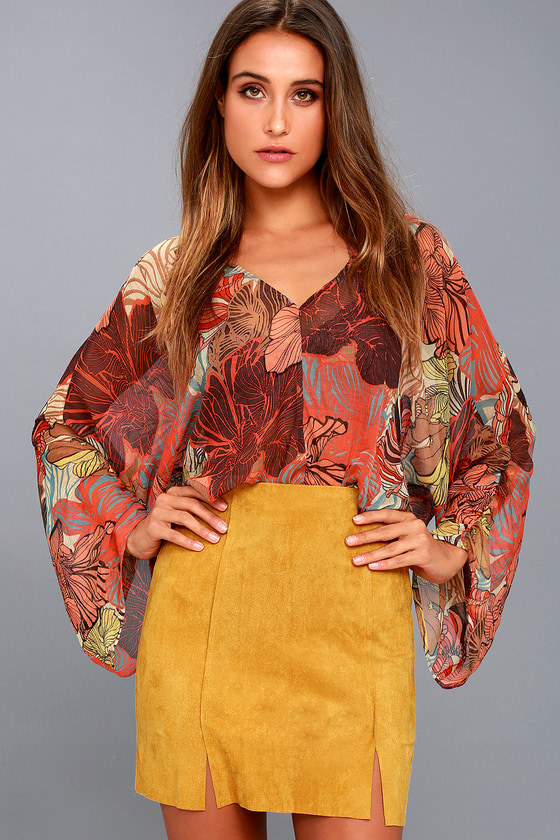 e3d3dd3fc59 Cute A-Line Mini Skirt - Mustard Yellow Vegan Suede Skirt