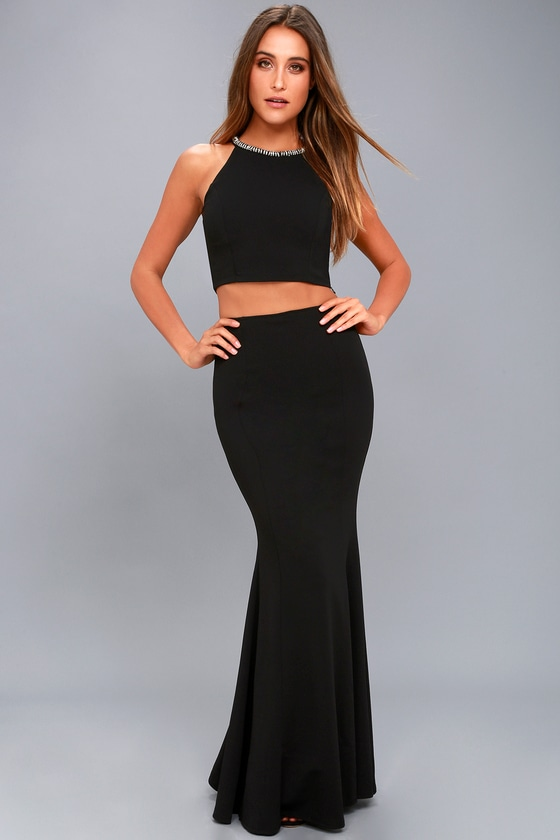 ba0a4b2442c Stunning Black Rhinestone Dress - Two-Piece Maxi Dress
