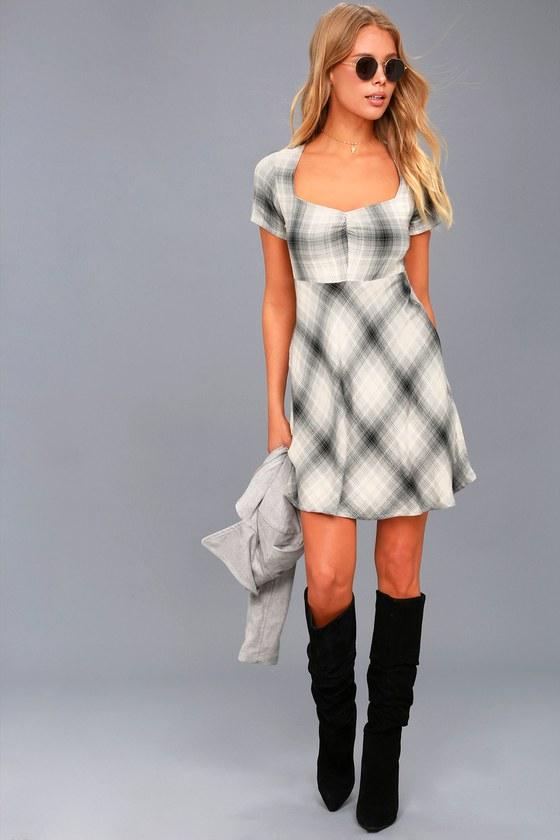 Sky Grey Plaid Skater Dress 2