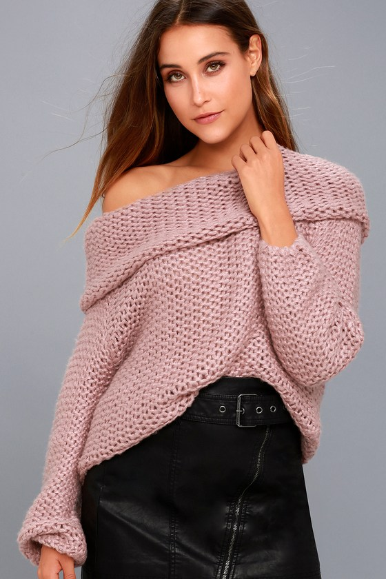 Cute Mauve Pink Knit Sweater - Off-the-Shoulder Sweater