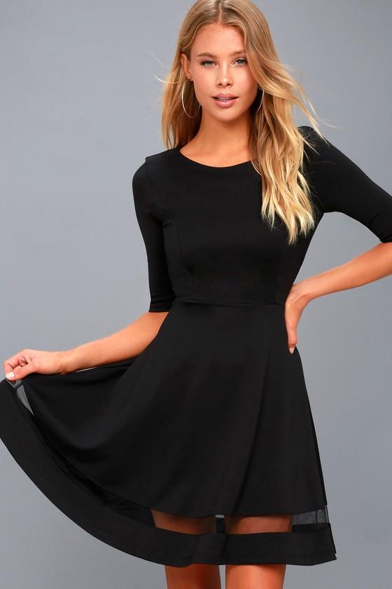 Sheer Factor Black Mesh Skater Dress 3