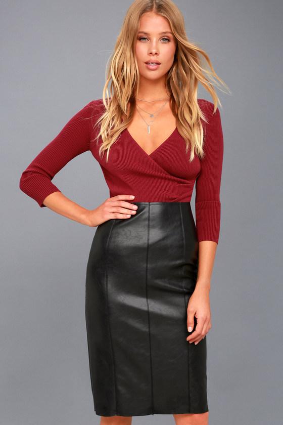 0e1a11cf17 Sexy Black Vegan Leather Skirt - Midi Skirt - Pencil Skirt