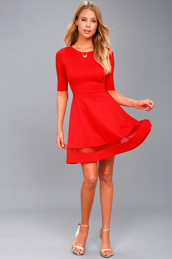 0b431bd93157 Cute Red Skater Dress - Mesh Skater Dress - Mesh Dress