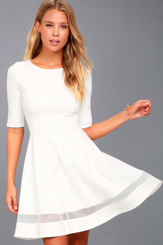 7d733d4a4c74 Cute White Skater Dress - Mesh Skater Dress - Mesh Dress
