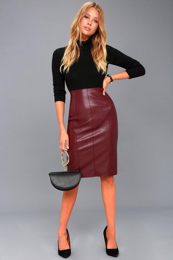 18d743e09ec Sexy Vegan Leather Skirt - Midi Skirt - Pencil Skirt