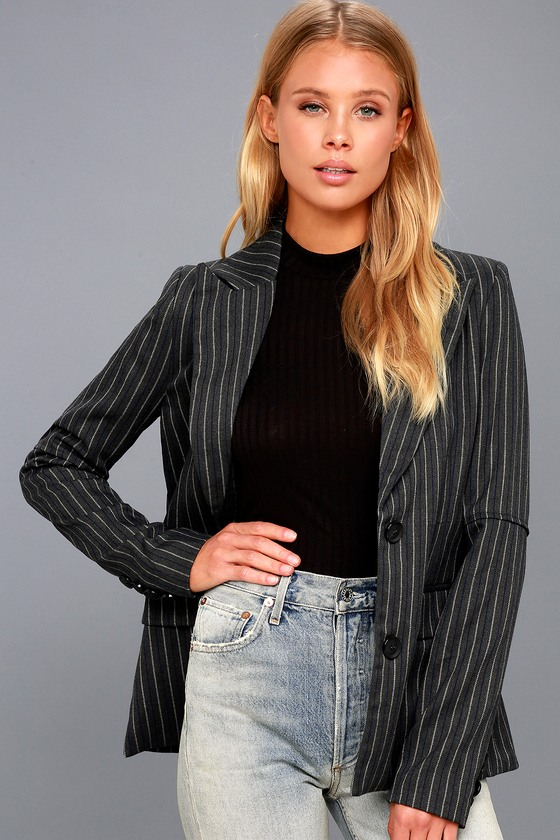 Ambitious Love Dark Grey Striped Blazer