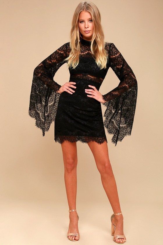 Bewitching Babe Black Lace Bell Sleeve Dress