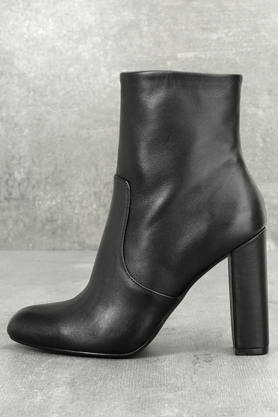 ec4b0c3b47b Steve Madden Editor - Black Leather Boots - High Heel Boots
