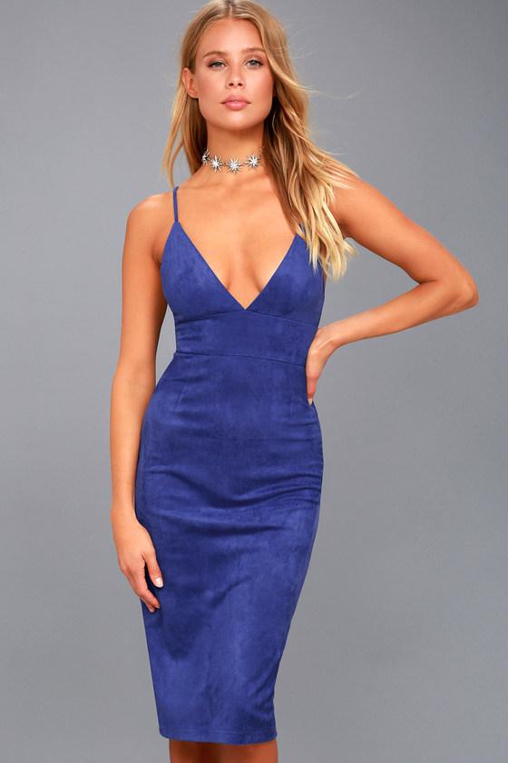 Dynamic Diva Royal Blue Suede Bodycon Midi Dress