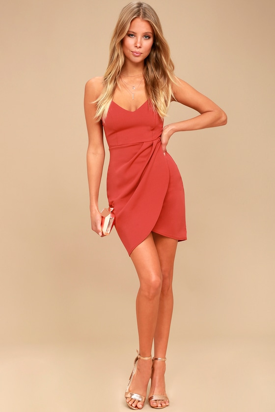 Forever Your Girl Rust Red Bodycon Dress