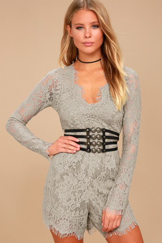 Ellery Grey Lace Long Sleeve Romper