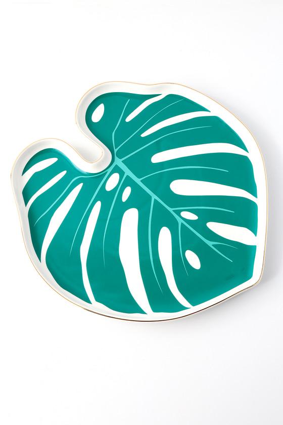 Paradise White and Green Botanical Porcelain Tray
