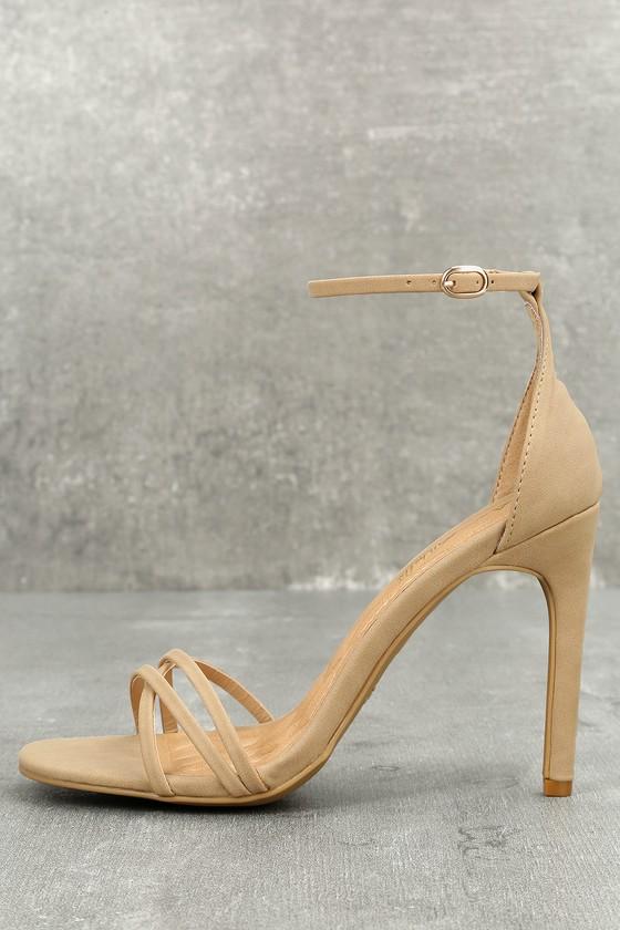 Akira Natural Nubuck Ankle Strap Heels 1