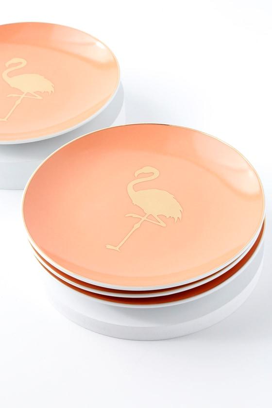 Patio Party Gold and Blush Flamingo Porcelain Appetizer Plates