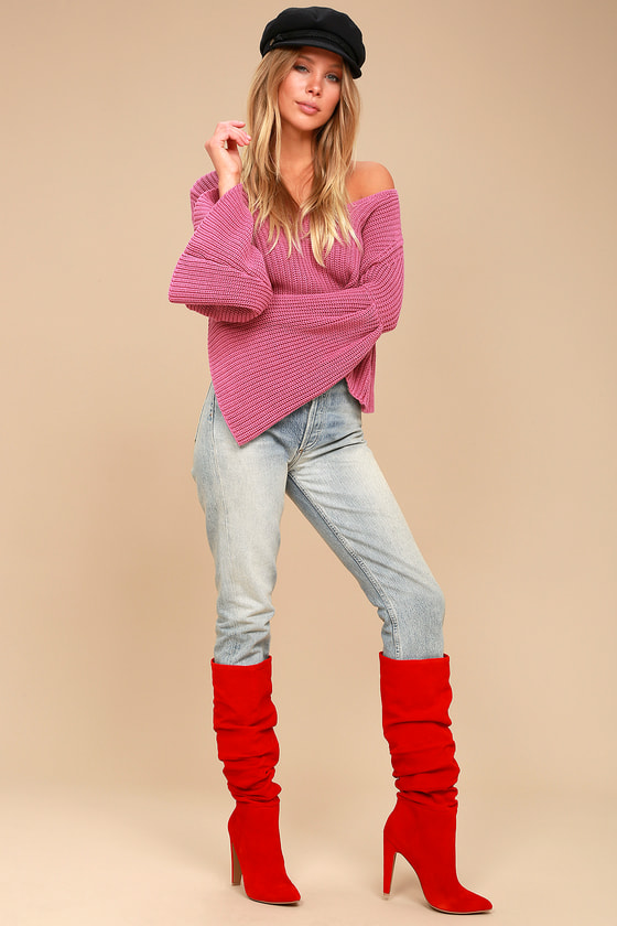Carrie Red Suede Leather Slouchy Knee High Heel Boots 1