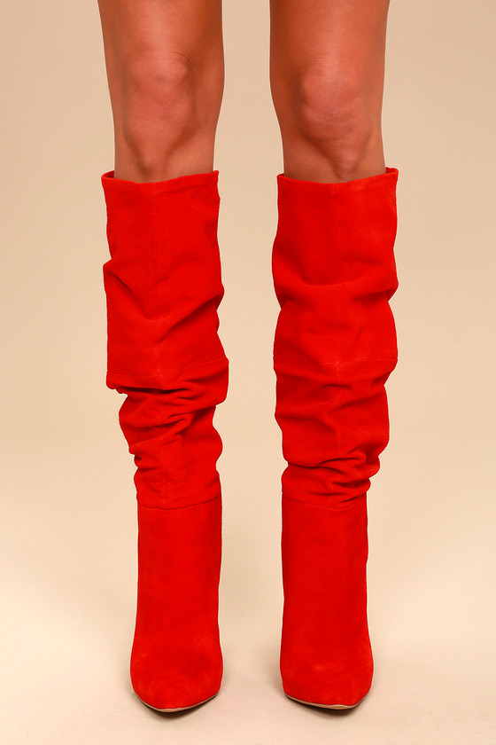 e96d55cbb3a Steve Madden Carrie - Red Slouchy Boots - Knee High Boots