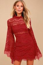 Cute Burgundy Dress - Knit Dress - Cowl Neck Dress 578b9463a
