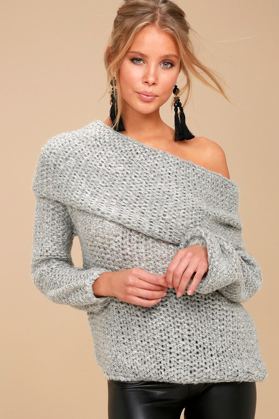 Cute Grey Knit Sweater Off The Shoulder Knit Sweater