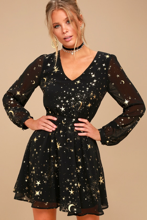 Midnight Skyline Black Star Print Long Sleeve Skater Dress 3