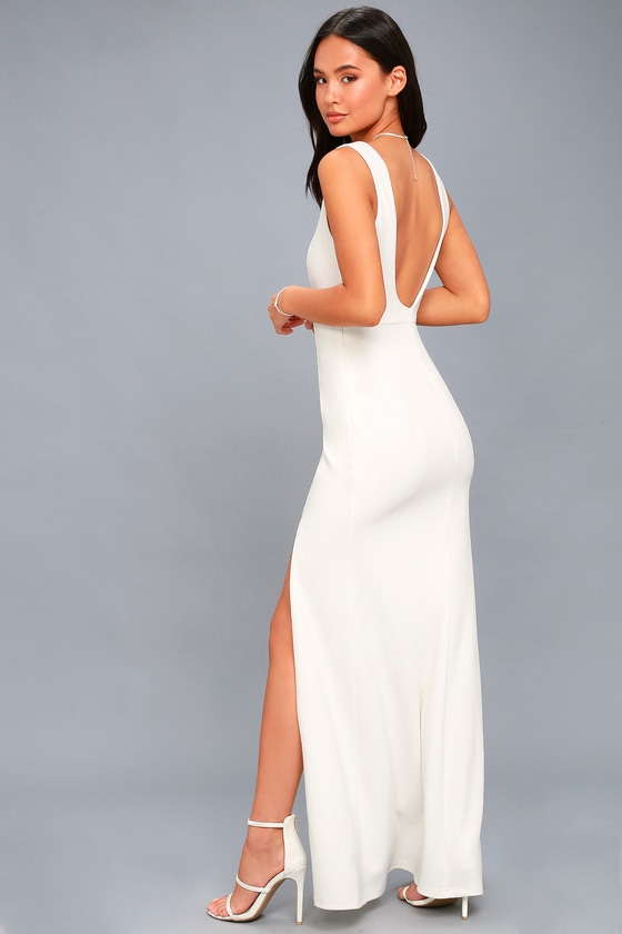 Cherish You White Backless Maxi Dress