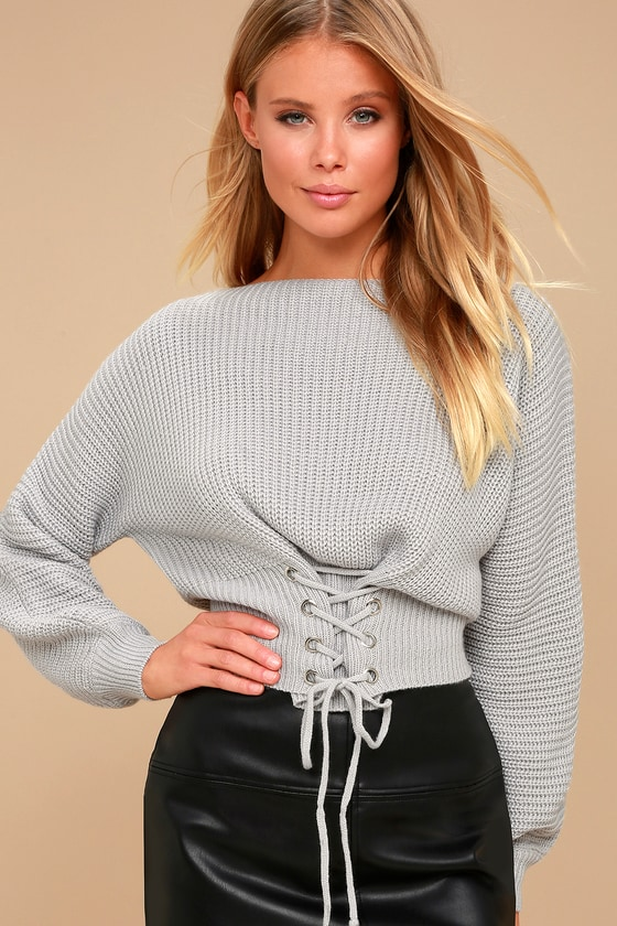 Wrapped in Romance Grey Cropped Lace-Up Sweater 1