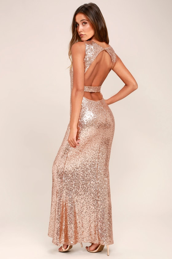 Light the Night Rose Gold Sequin Backless Maxi Dress