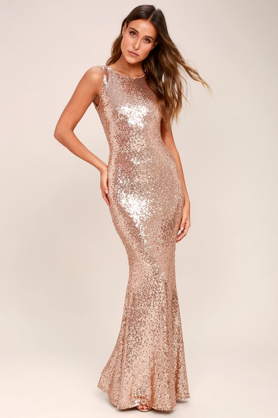1c2e6b08 Stunning Sequins Dress - Rose Gold Dress - Mermaid Dress