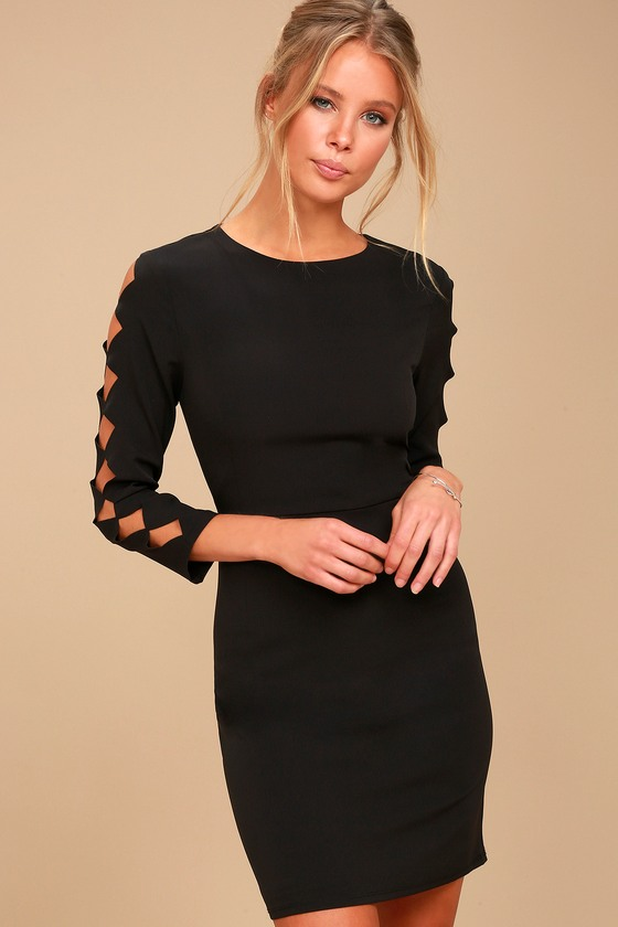 Lights Down Low Black Long Sleeve Cutout Bodycon Dress 1