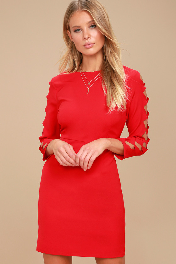 Lights Down Low Red Long Sleeve Cutout Bodycon Dress 1
