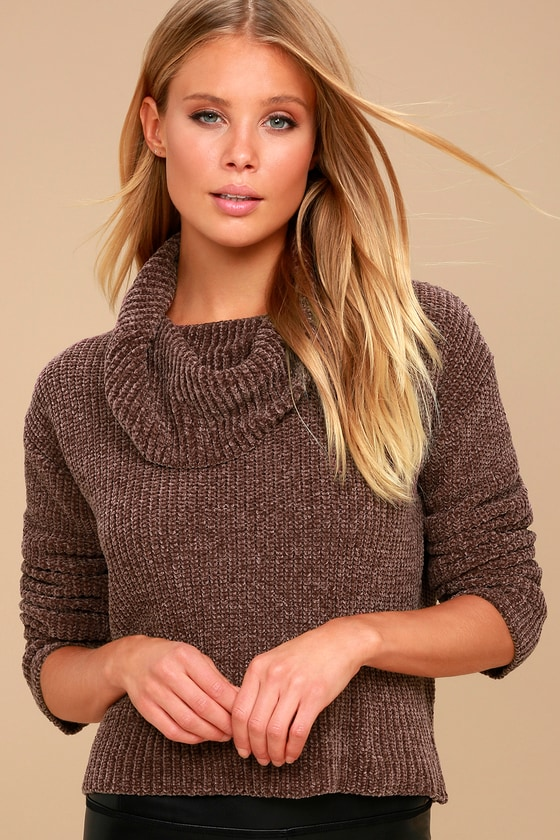 Snuggle Central Taupe Chenille Cowl Neck Sweater 1
