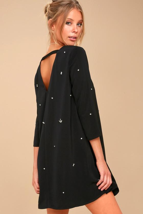 Lovely Black Dress Rhinestone Dress Swing Dress