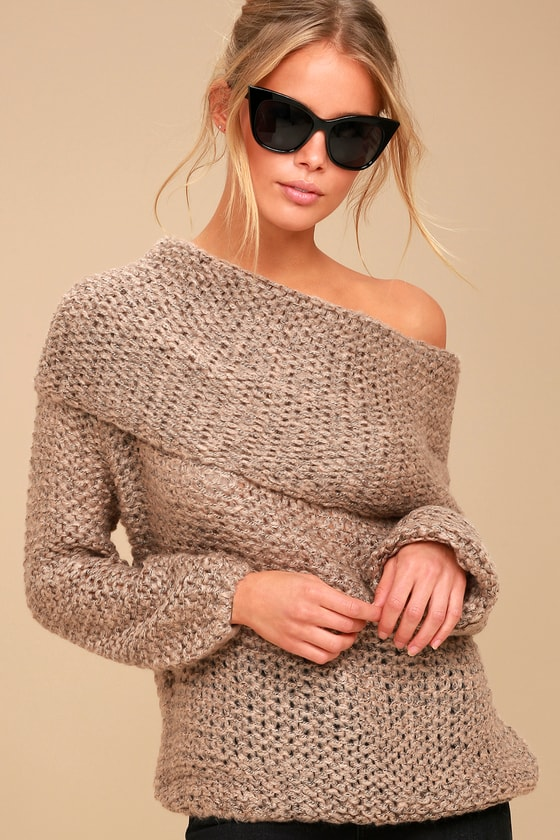 Cute Light Brown Knit Sweater Off The Shoulder Sweater