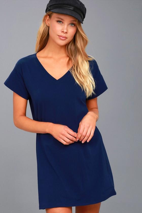 Navy Blue T Shirt Dress Shift Dress V Neck Dress